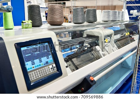 Two system industrial textil flat knitting machine with one carriage