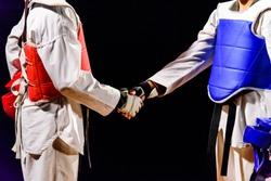 Two Taekwondo are handshake. Before the match isolated on black background.