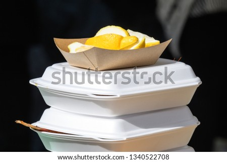 Two take way portions of cooked food in white plastic boxes with sliced lemon pieces on top, ready to eat
