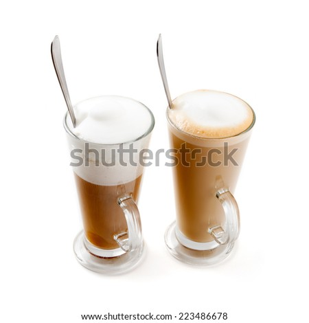 two tall glass cappuccino and latte
