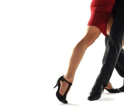 Two tango dancers passion on the floor isolation on white background