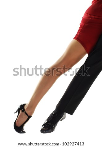 two tango dancers passion on the floor isolation on white background - stock photo
