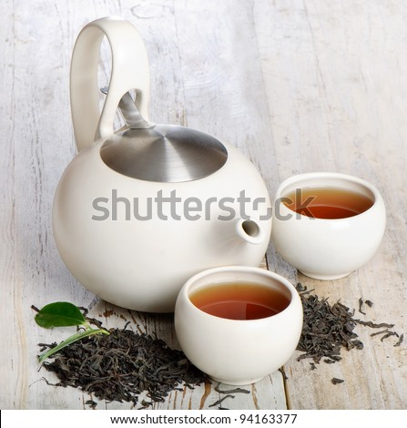 Two tea cup and teapot