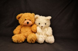 two teddy bears are sitting on a dark background