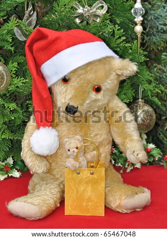 Two teddy bears in Christmas setting.