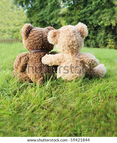 Two teddy bears in love sitting on grass - stock photo