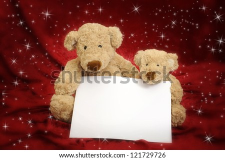 two teddy bears message card on red background with stars