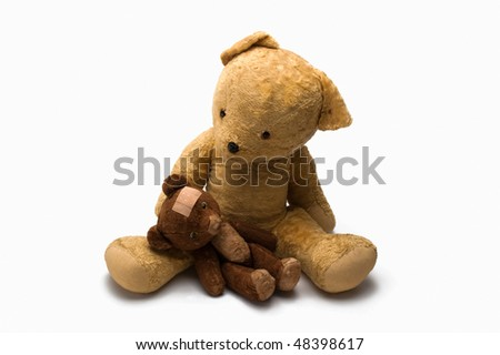 Two Teddy Bears With Sticking Plaster Isolated On White Background - stock photo