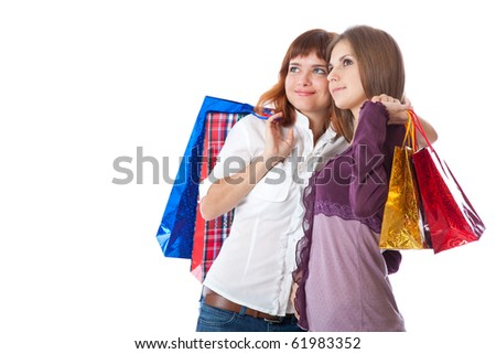 Two teen girls with bags. Isolated on white background