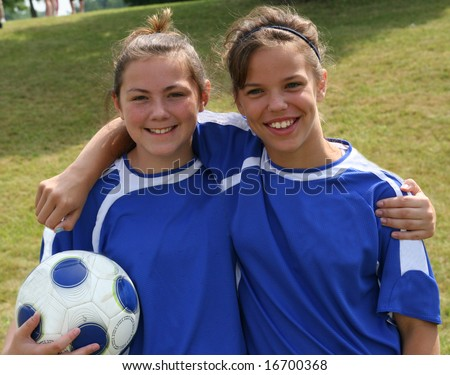 Two Teen Youth Soccer Teammates