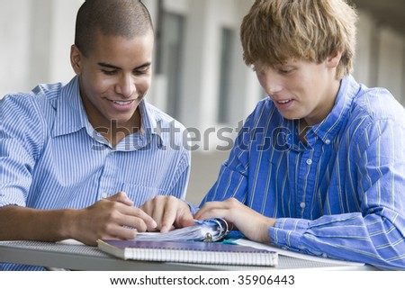Two teenage boys studying together