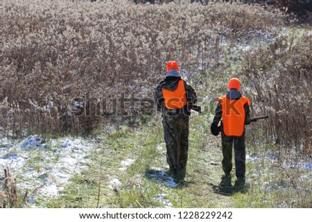 Two teenagers deer hunting in the Midwest #1228229242