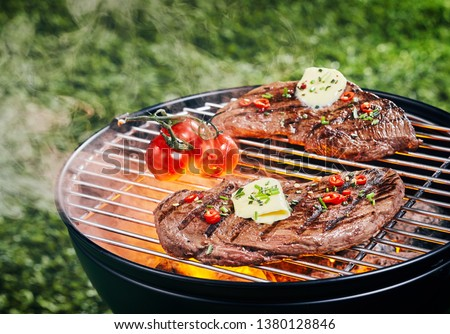 Two tender portions of rump steak grilling on a barbecue fire at a picnic or campsite garnished with herbs, spices and a curl of butter #1380128846