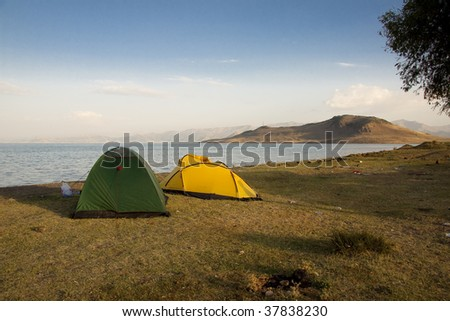 Two tent on the coast of Van lake in Turkey.
