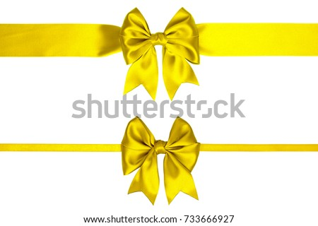 Two thin lemon yellow satin bows with ribbons with tails on white background