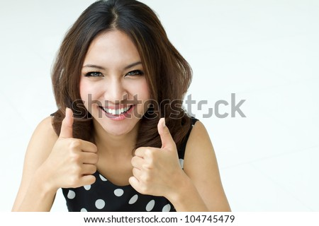 two thumbs up hand sign from beautiful women