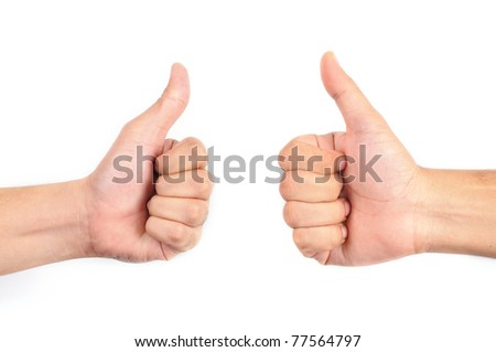 Two thumbs up isolated with white background