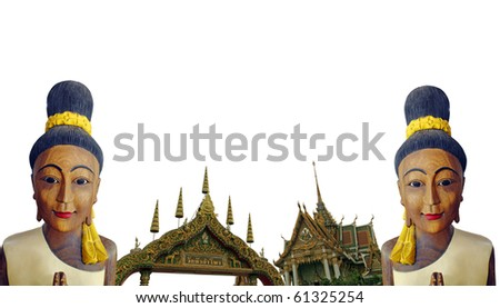 Two timber statue of Thai woman welcoming tourist to bangkok with the wat hua lamphong temple as a backdrop.