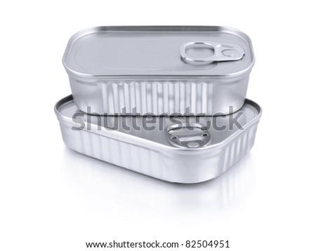Two tin containers isolated on white.