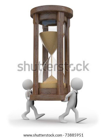 Two tiny men carrying a huge hourglass