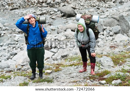 stock photo two tired backpackers a young and mature women standing on rock in mountains 72472066 Sweaty muscles, hard cocks