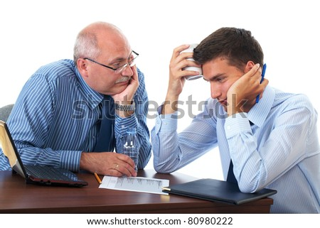 two tired, sad and overworked businessman get a break, and some rest, holds bottle of water and tea cup, isolated on white