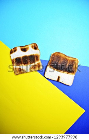 Two toasts are on a colorful background - both are not toasted all over the surface but show the contours of bathing trunks and bikini - concept of sunburn pictured with toasts #1293977998