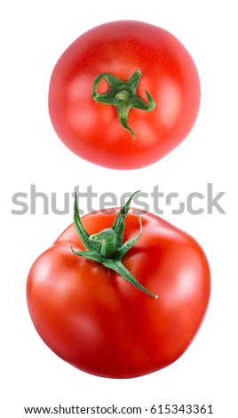Shutterstock Two tomat on white background
