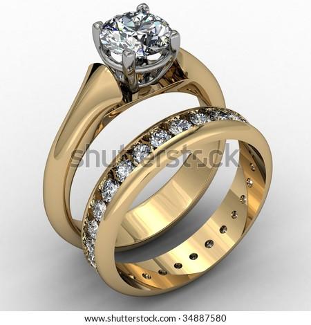 Two tone diamond wedding ring set