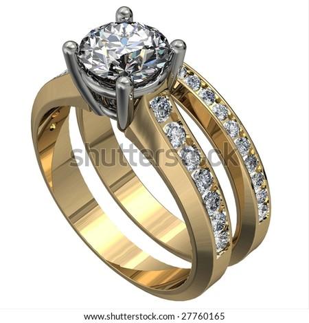stock photo two tone diamond wedding ring set isolated on white