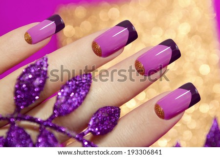 Two-tone French manicure pink and purple colors for brilliant background with decorative sheet