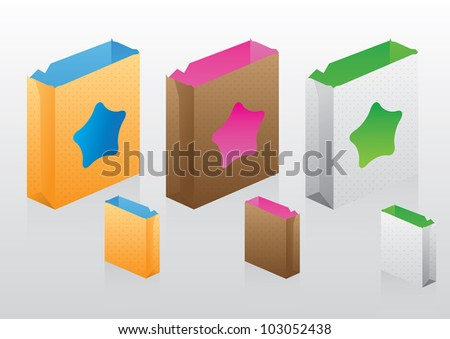 Two-tone Paper bags set vector and illustration by illustrator.