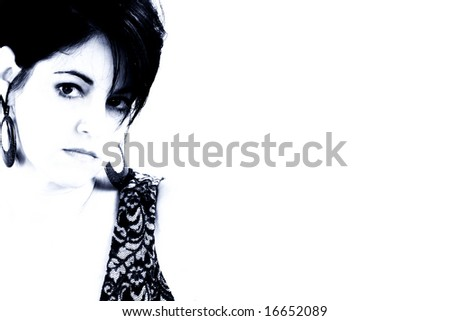 Two toned sad expression on 40 year old woman.