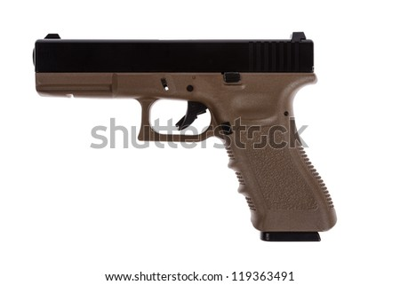 Two tones modern pistol on white back ground