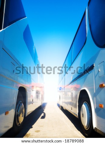 Two tourist buses. Wide angle view. - stock photo