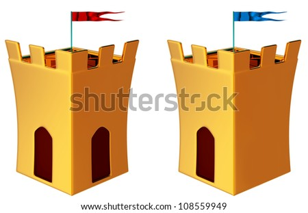 two towers with flags as a symbol of medieval history