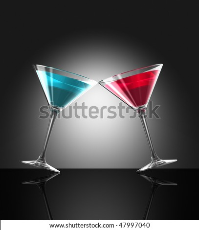 two transparent blue and red cocktail glasses reflecting on bar surface. three dimensional illustration