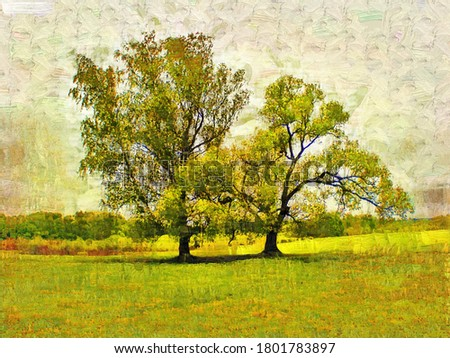Two trees on the Borodino field in the style of Oil painting Fauvism