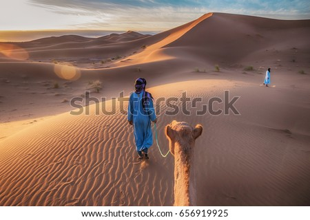 Two Tuareg nomads leading a camel in the Sahara Desert, Morocco.