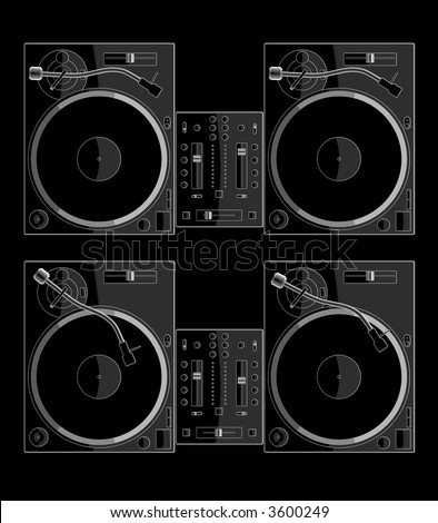 two turntables and mixer on black background. playing and non playing a record. check my portfolio for variations.