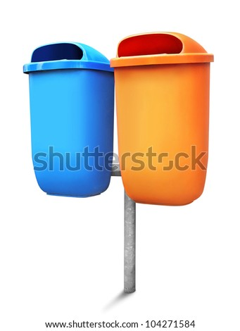 Two type of public trash can isolated on white background