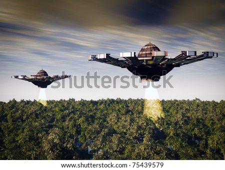 Two UFO's a search and rescue mission.Searching the forest with light beams. Original science fiction illustration