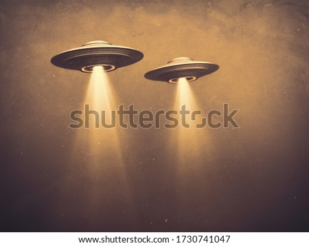 Two UFOs flying in fog with light below. 3D illustration monochromatic sepia-toned old-time photography. Concept image with blank space below the UFOs for texts and image. Stock photo ©