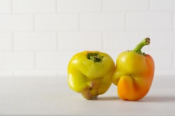 Two ugly peppers that looks like a strange face on a light table. Funny, unnormal vegetable or food waste concept.