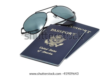 Two United States of America Passports and Sunglasses
