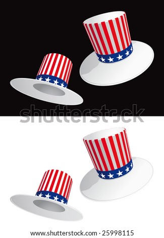 Two USA hats with stripes and stars - Raster version
