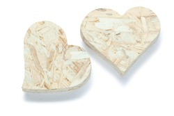 two valentine heart toys made from plywood isolated on white