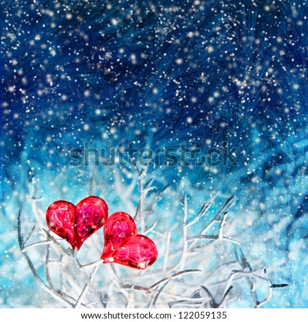 Two valentine hearts on the white branch over dark blue frozen background with snow falling down
