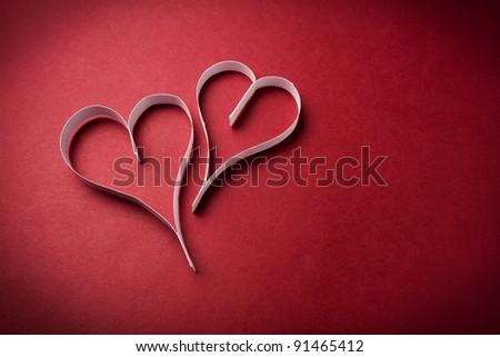 two valentine's paper hearts valentine's day day valentine