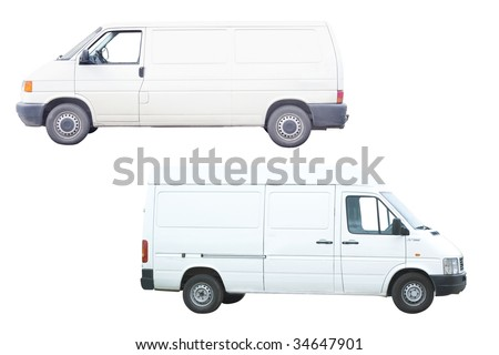 Two vans under the white background